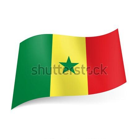 Zászló Szenegál zöld citromsárga piros függőleges Stock fotó © dvarg
