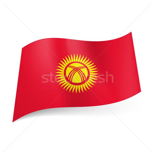 Bayrak Kırgızistan sarı güneş hatları merkez Stok fotoğraf © dvarg