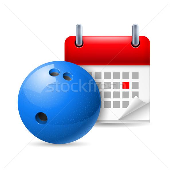 Bowlingkugel Kalender Symbol Tag Sport Veranstaltung Stock foto © dvarg