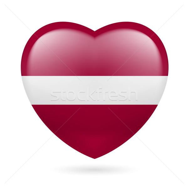 Hart icon Letland vlag kleuren liefde Stockfoto © dvarg