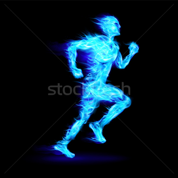 Azul ardiente ejecutando hombre movimiento efecto Foto stock © dvarg