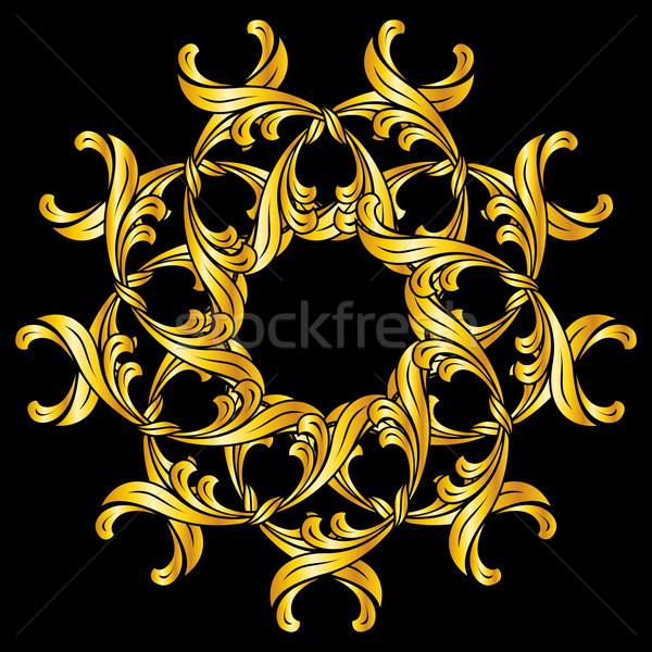 Zdjęcia stock: Kwiatowy · wzór · złota · kolory · czarny