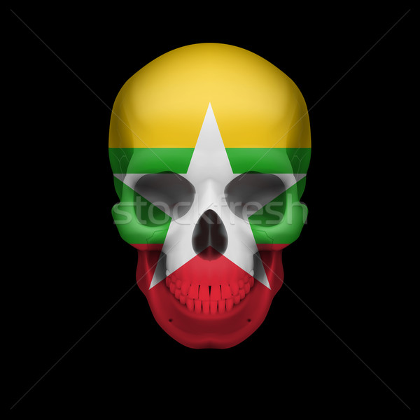 Myanmar flag skull Stock photo © dvarg