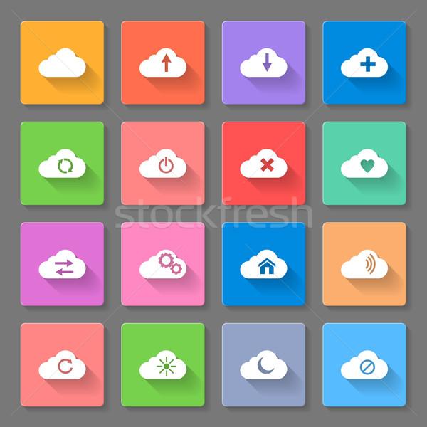 Set of flat cloud icons Stock photo © dvarg