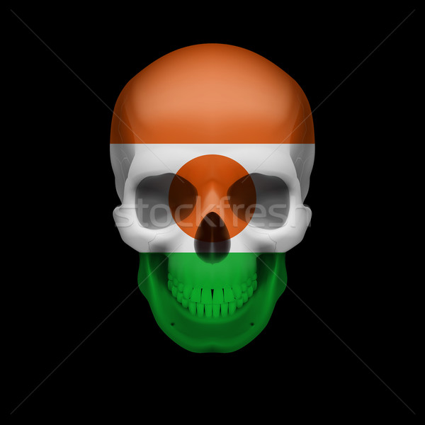 Nigerien flag skull Stock photo © dvarg