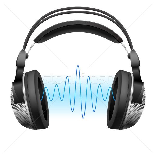 Headphones and music wave. Stock photo © dvarg