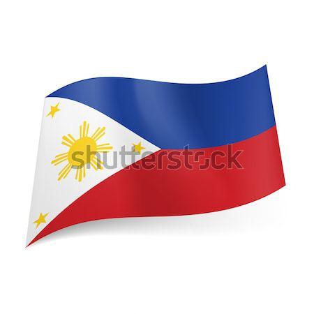 Stock fotó: Zászló · Fülöp-szigetek · kék · piros · vízszintes · csíkok
