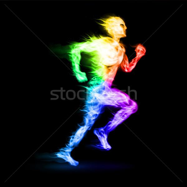 Ardiente ejecutando hombre movimiento efecto negro Foto stock © dvarg
