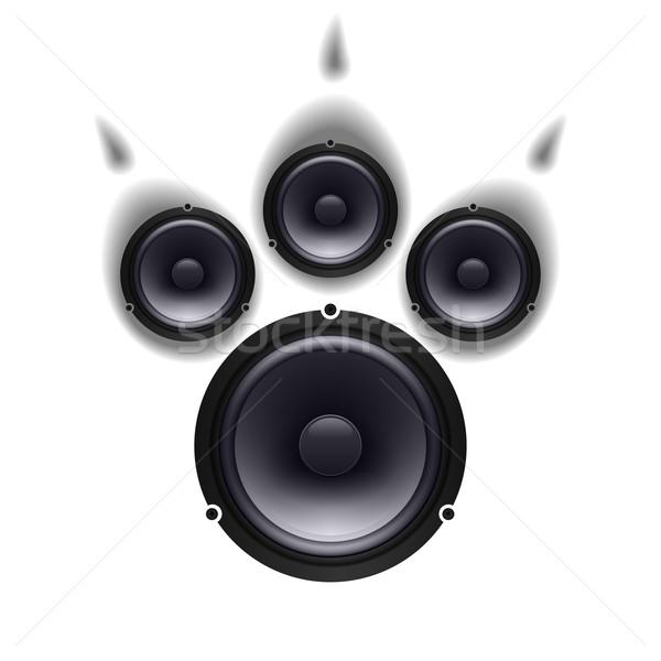 Hangfalak mancs állat szett fehér hátterek zene Stock fotó © dvarg