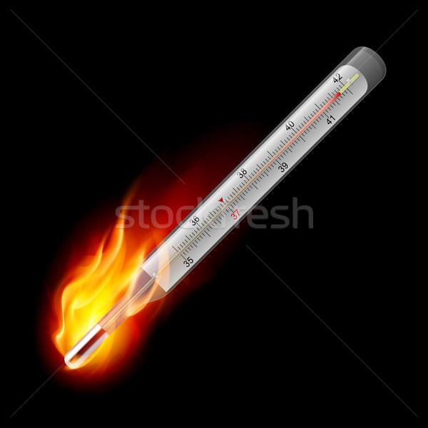 Médicos termómetro ardor celsius ilustración negro Foto stock © dvarg