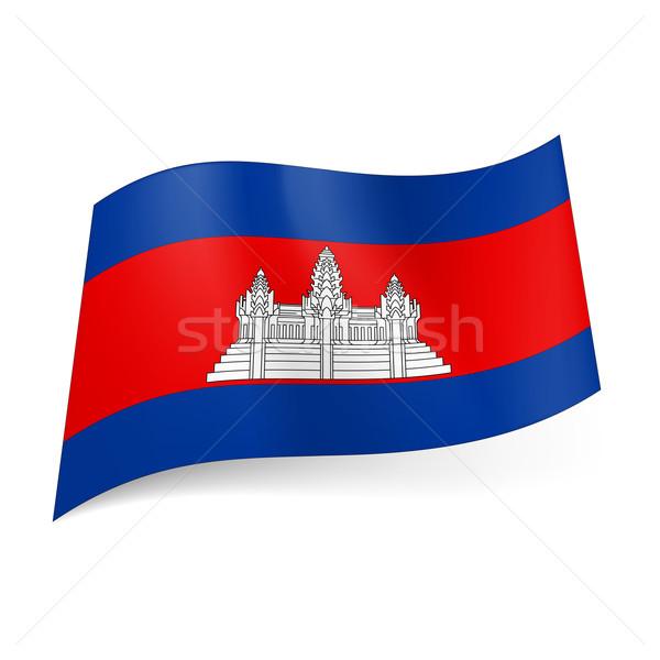 Bandeira Camboja branco templo vermelho dois Foto stock © dvarg