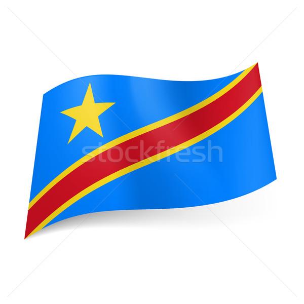Demokratik cumhuriyet Kongo bayrak sarı kırmızı Stok fotoğraf © dvarg