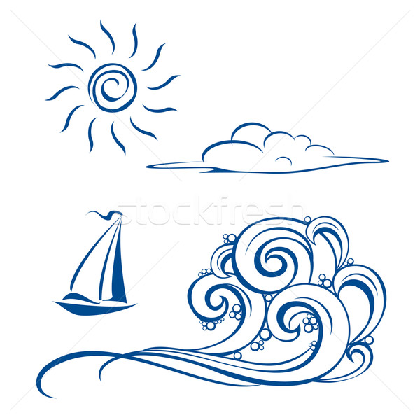 Foto stock: Barco · olas · nubes · sol · blanco · playa