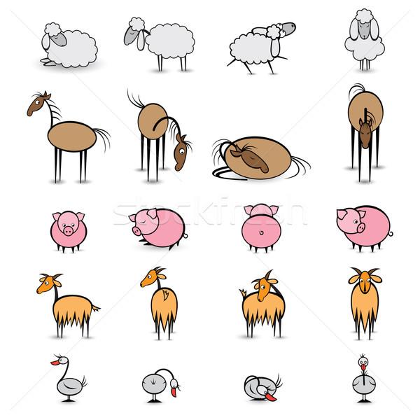 Set of various animals living on the farm Stock photo © dvarg