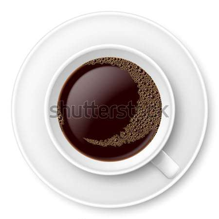 White mug of coffee with foam and saucer Stock photo © dvarg