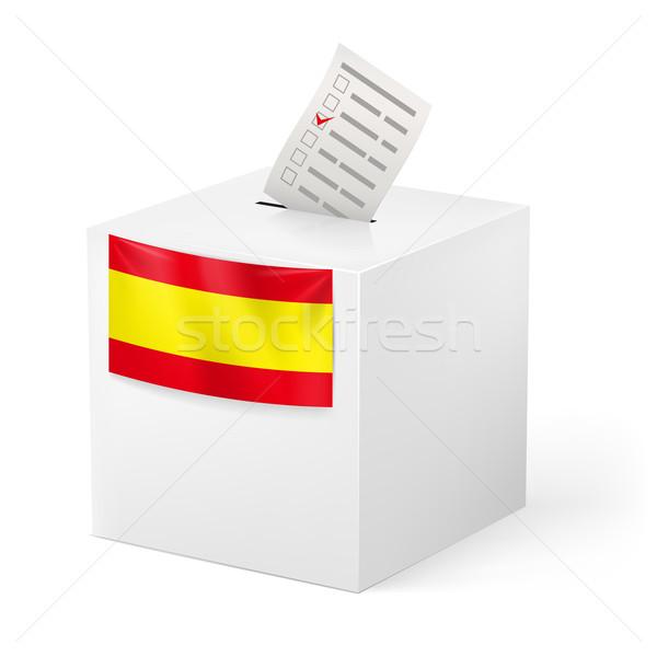 Oylama kutu kâğıt İspanya seçim yalıtılmış Stok fotoğraf © dvarg