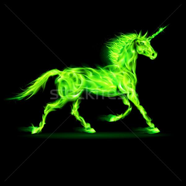 Green fire unicorn. Stock photo © dvarg