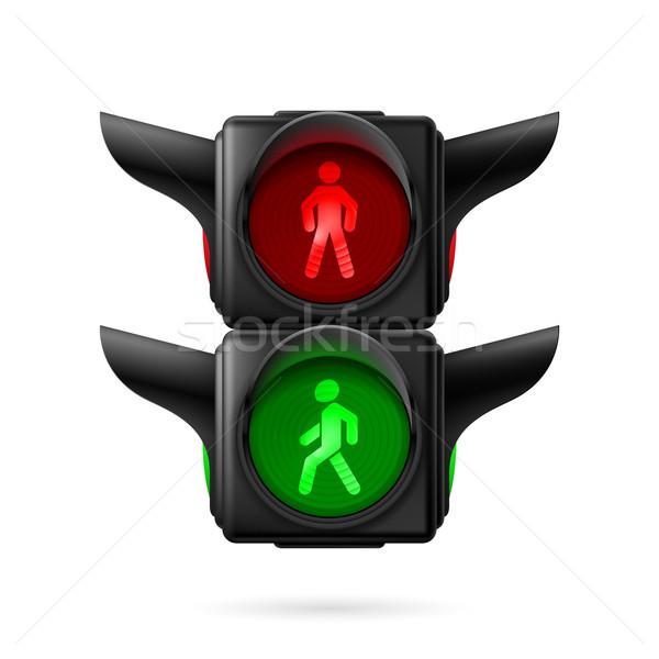 Voetganger stoplicht realistisch verkeerslichten Rood groene Stockfoto © dvarg