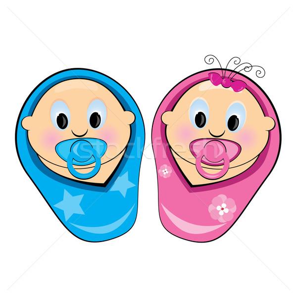Illustratie baby jongen meisje witte school Stockfoto © dvarg