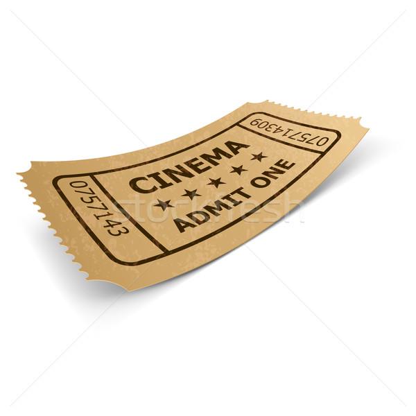 Bioscoop ticket geïsoleerd witte retro-stijl ontwerp Stockfoto © dvarg