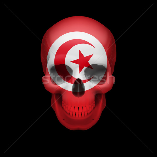 Tunisian flag skull Stock photo © dvarg