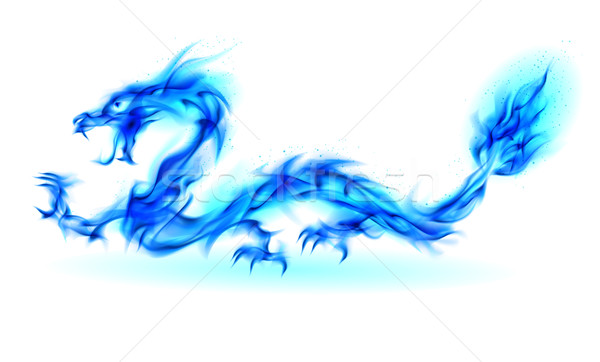 Blauw brand draak abstract illustratie witte Stockfoto © dvarg