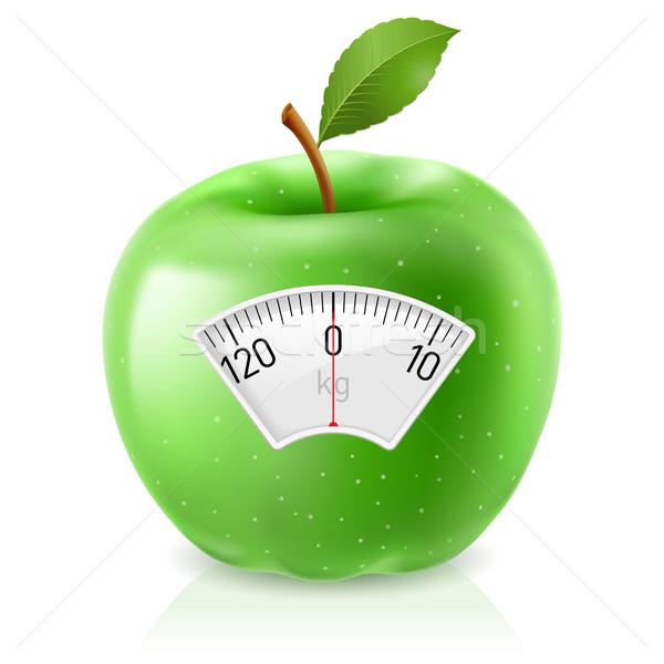 Zöld alma mérleg munka levél fitnessz Stock fotó © dvarg