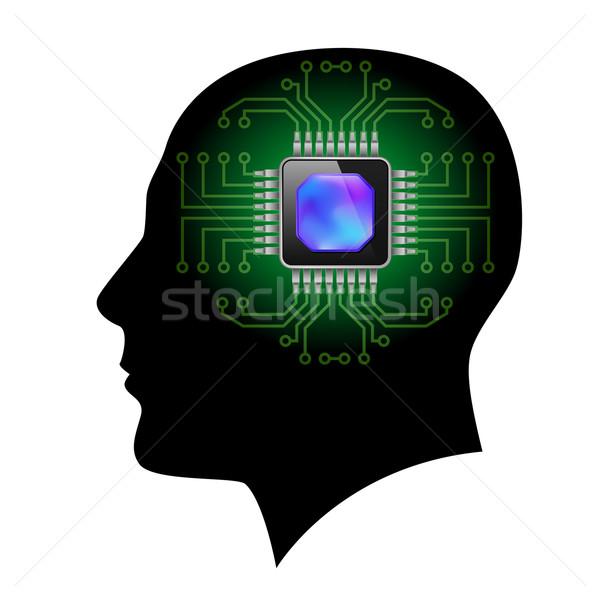Nyomtatott áramkör agy illusztráció fehér üzlet számítógép Stock fotó © dvarg