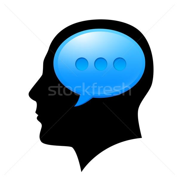 Férfi fej sms illusztráció terv fehér Stock fotó © dvarg