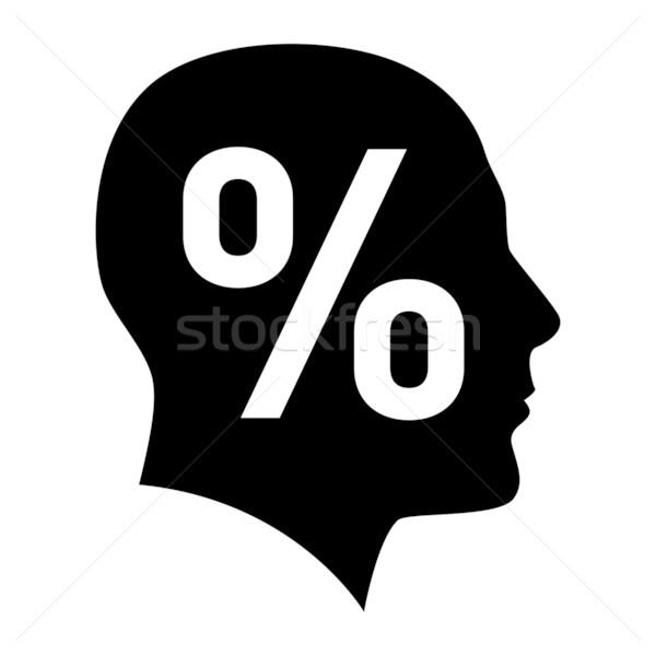 Stockfoto: Menselijke · gezicht · procent · teken · illustratie · witte