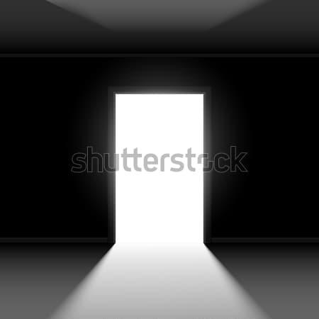 Open deur abstract illustratie zwarte muur ontwerp Stockfoto © dvarg