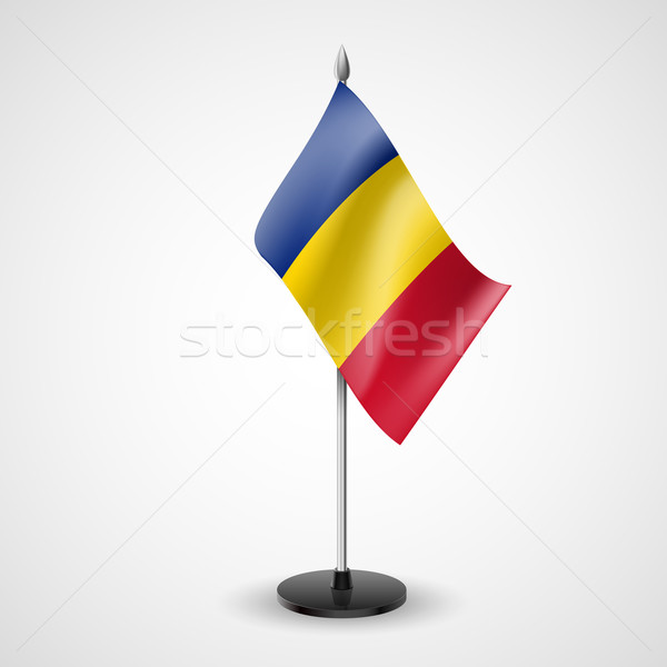 Tablo bayrak Romanya dünya imzalamak konferans Stok fotoğraf © dvarg