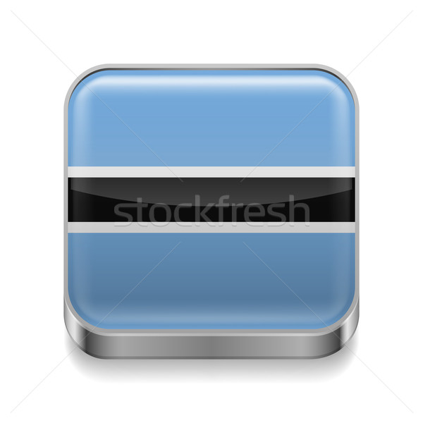 Metal ikona Botswana placu banderą kolory Zdjęcia stock © dvarg