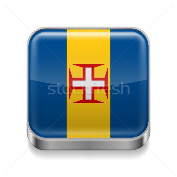 Metal ikon madeira kare bayrak renkler Stok fotoğraf © dvarg