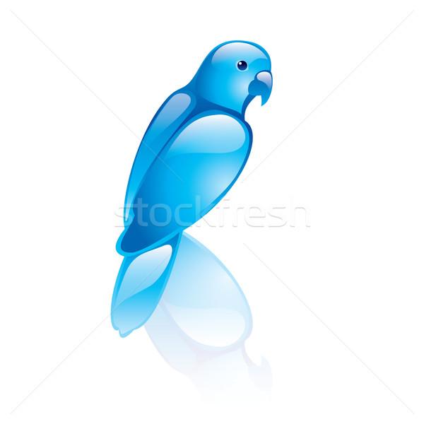 Foto d'archivio: Uccello · simbolo · blu · design · computer · sorriso