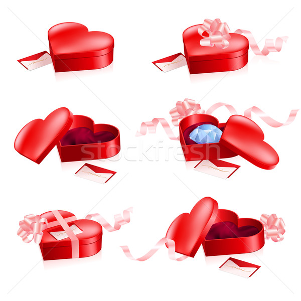 Set of Red boxes in heart shape Stock photo © dvarg