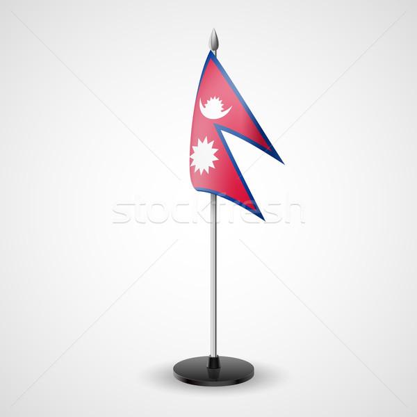 Tablo bayrak Nepal dünya konferans büro Stok fotoğraf © dvarg