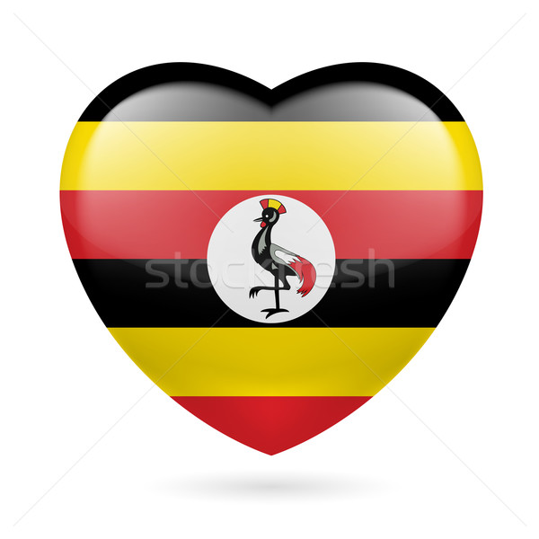 Coeur icône Ouganda pavillon couleurs amour Photo stock © dvarg