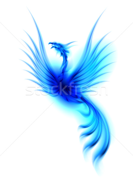 Phoenix versie brandend Blauw geïsoleerd witte Stockfoto © dvarg