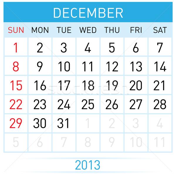 Kalendarza miesiąc grudzień ilustracja biały działalności Zdjęcia stock © dvarg