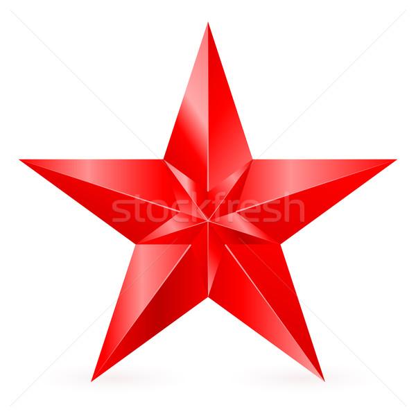 Piros csillag illusztráció fényes fehér felirat Stock fotó © dvarg