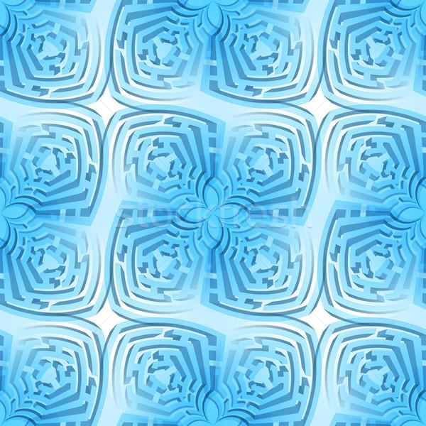 Résumé labyrinthe bleu fleur puzzle Photo stock © dvarg