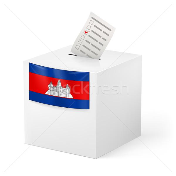 Szavazócédula doboz szavazás papír Kambodzsa választás Stock fotó © dvarg