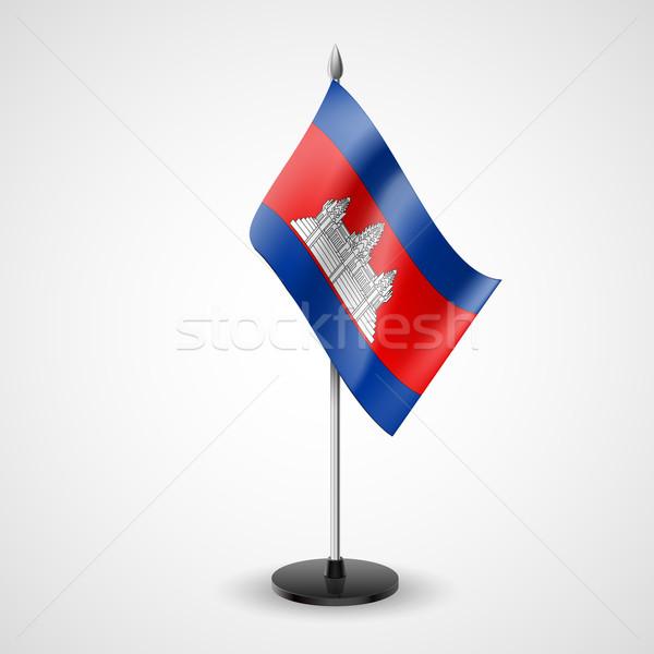Tabela bandeira Camboja mundo conferência secretária Foto stock © dvarg