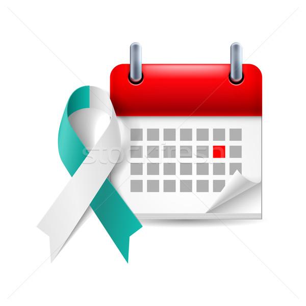 Teal and white awareness ribbon and calendar Stock photo © dvarg