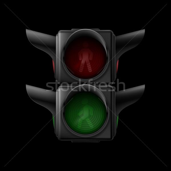 Stockfoto: Voetganger · stoplicht · realistisch · verkeerslichten · af · illustratie