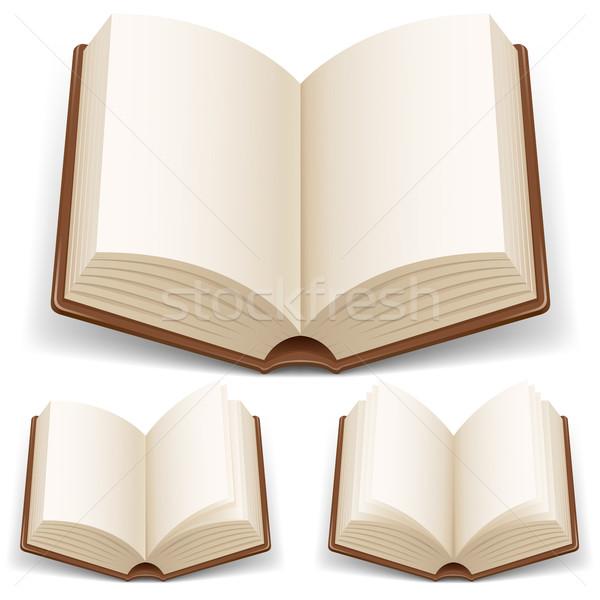 Nyitott könyv fehér oldalak illusztráció fény háttér Stock fotó © dvarg