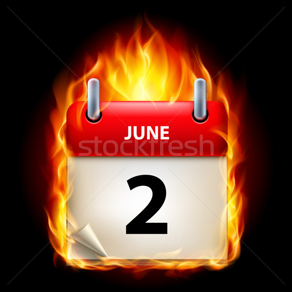 Brandend kalender tweede icon zwarte papier Stockfoto © dvarg