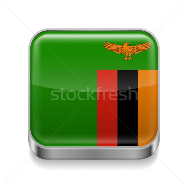 Stock fotó: Fém · ikon · Zambia · tér · zászló · színek