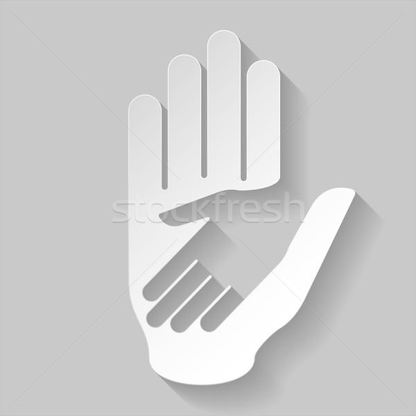 Stockfoto: Papier · helpende · hand · hand · illustratie · helpen · hulp